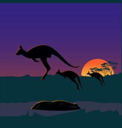 three large kangaroos on australian plains vector image