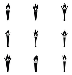 Torch icon set vector