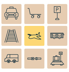 transportation icons set with trolley car vehicle vector image