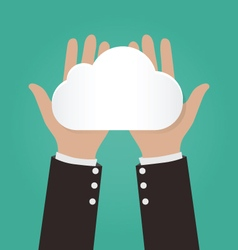 Two hands holding paper clouds cloud computing vector