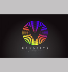 v letter logo design with colorful rainbow vector image