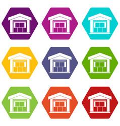 warehouse building icon set color hexahedron vector image