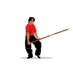 Wing Chun kung fu Man with a stick Cartoon vector image