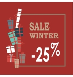 Winter sale background with beige lettersgifts vector