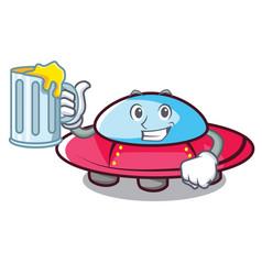 With juice ufo mascot cartoon style vector