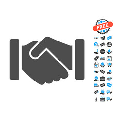 agreement handshake flat icon with free bonus vector image vector image