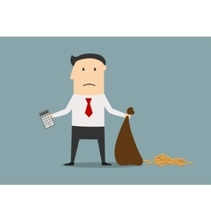 Bankrupt manager with calculator and empty bag vector image