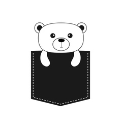 Bear in the pocket Cute cartoon contour character vector image