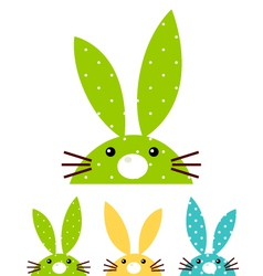 Cute patterned bunny set isolated on white vector image vector image