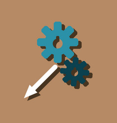 flat icon design collection two gears in sticker vector image
