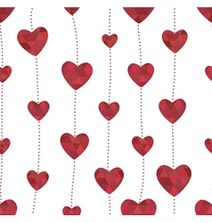 Garland with red hearts in the crystalline style vector