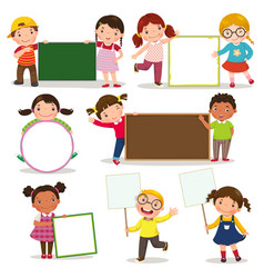 set of children holding blank signs vector image