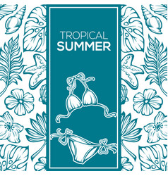 tropical summer background leaves flowers and vector image vector image