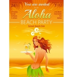 Evening beach background with beautiful hula girl vector image