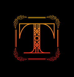 letter t with ornament vector image