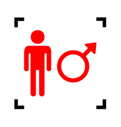 male sign red icon inside vector image