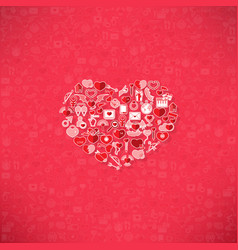red icon heart valentines day card with sign on vector image