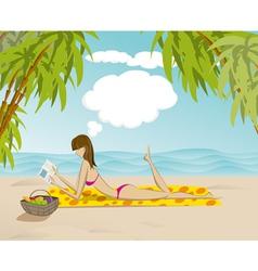 Sunbathing beauty vector image vector image