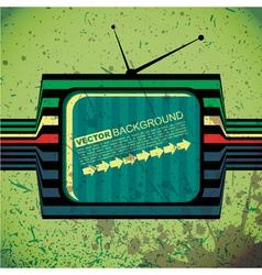 Textured retro tv on grunge background vector