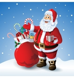 Cartoon Santa claus with a bag of toys in front vector image