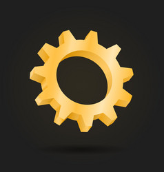 golden gear mechanism 3d cog vector image vector image