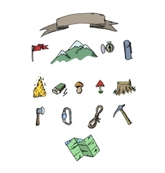 Hand drawn colored camping adventure set Doodle vector image
