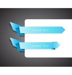 Set of blue origami ribbon for your text vector image
