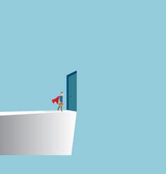 businessman standing front of door at cliff vector image