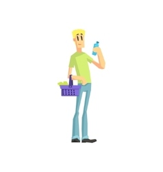 Guy buying household chemistry vector
