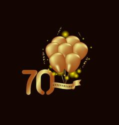 70 year anniversary gold balloon template design vector