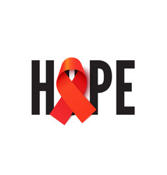 Aids awareness ribbon with hope word vector