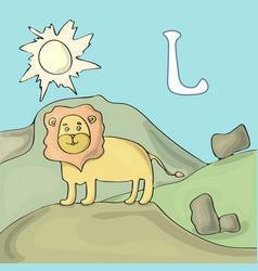 alphabet letter l and lion abc book vector image