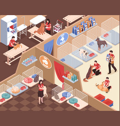 animal shelter isometric vector image