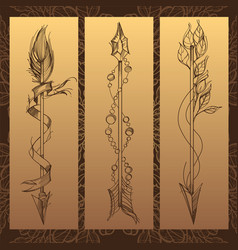 Arrows elements in the style of boho contour for vector
