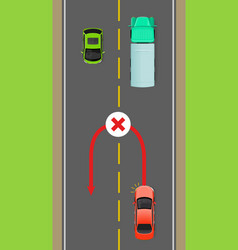 Banned car u-turn flat diagram vector