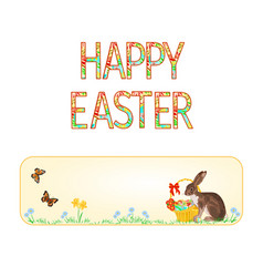 banner happy easter bunny and basket vector image