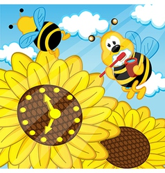 Bee brushes teeth looks at watch sunflower vector