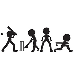 Black sketches of people playing cricket vector