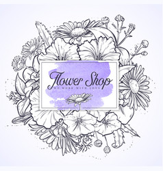 Bouquet of chamomile and petunia flowers vector