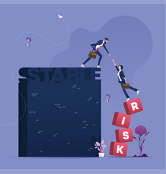 Businessman help partner from risk to stable vector