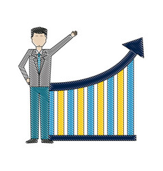 businessman pointing diagram statistic chart arrow vector image