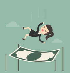 businesswoman falling into a financial safety net vector image