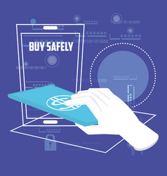 Buy safely online with smartphone vector
