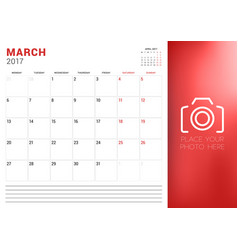 calendar planner template for march 2017 week vector image