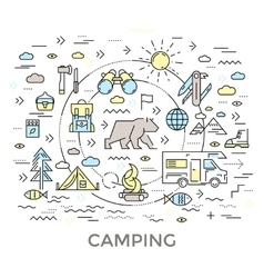 Camping Round Composition vector image