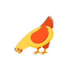cartoon character happy hen pecking food vector image