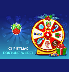 Cartoon christmas lucky roulette spinning fortune vector
