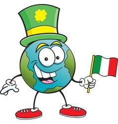 Cartoon globe waving an Irish flag vector image