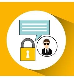 Character man protected digital chat vector