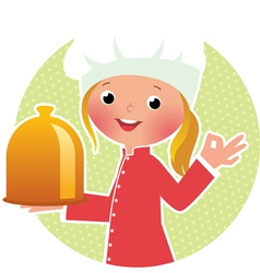 Chef girl with hot plate vector image